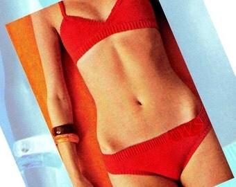"Vintage 70's Crochet ""RED BIKINI"" Bathing Suit Pattern - Swim Suit - PDF Pattern - Instant Download"