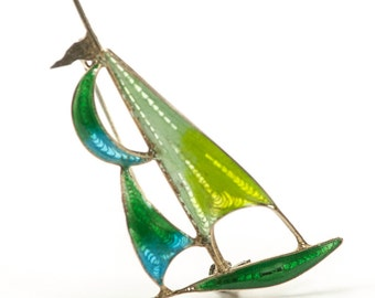 Plique a Jour 800 Silver Sailboat Brooch Green Blue