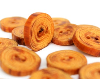 "13 pieces Handmade Swamp Cypress Wood Buttons Small around 1"" (26 mm) wooden tree branch button"