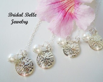 Beach Wedding Jewelry Set of Beach Wedding Sand Dollar Bridesmaid Necklaces  and Pearl Necklace Bridesmaid Gift  Destination Wedding