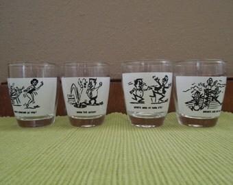 Vintage Shot Glasses~Set of Four Cartoon Retro Barware