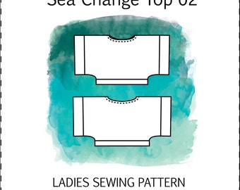 Sea Change Top PDF Sewing Pattern ladies kimono sleeve loose fit silk knit woven