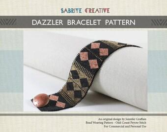 Peyote Bracelet Pattern - DAZZLER Bracelet in Black, Copper, and Bronze - Digital Download