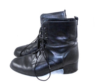 Heavy duty black leather motorcycle / combat / moto boot - lace up, tall, thick leather, US made 8 B M N