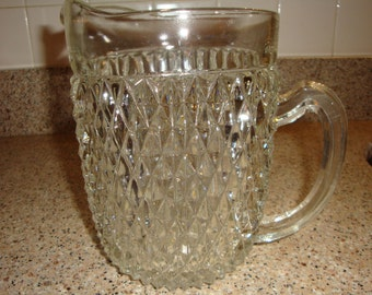 Indiana Glass Lead Crystal Glass Serving Pitcher Diamond Point Pattern Pitcher 52 oz pitcher Manufactured: 1965 - 1990 discontinued