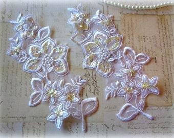 Embellished Flower Leaf Bridal Large Applique, White, x 2, For Bridal, Romantic, Victorian, Apparel