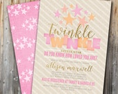 Custom Baby Shower Invitation: Twinkle Twinkle, Baby Girl, Pink, Gold, Little Star, Double Sided, Printable