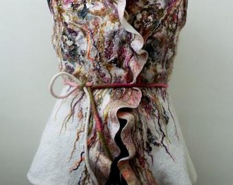"Nuno Felted   jacket Vest Waistcoat ""Pastorale """