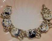 Coro White, Black and Gold Confetti Lucite and Rhinestone Bracelet