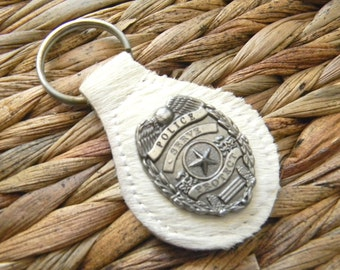 Police Keychain, Police Officer Key Fob, Key Ring, Key Chain, Policeman Gifts, Police Girlfriend, Police Cop Wife, Groomsmen Gift