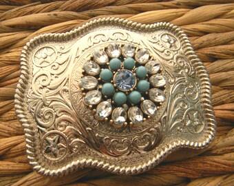 Rhinestone Turquoise Belt Buckle, Silver Western Womens Boho Buckle, Gypsy Clothing Silver Custom Belt Buckle, Boho Brooch, Statement Belt