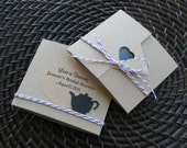 Tea Party Favors - Tea Envelopes - Set of 20 - Garden Party Favors - Tea Bag Holder - Customized Stickers - Organic Tea