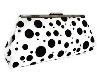 Black & white Dalmatian dots purse bag, Bridal accessory  / evening cutch purse, Cruella Deville purse/ Coktail purse/ Halloween party purse