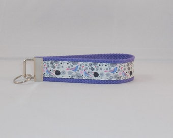 Keychain Wristlet Made With Purple Bird Inspired Ribbon