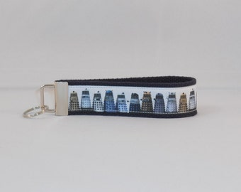 Keychain Wristlet Made With Dr. Who Dalek Inspired Ribbon