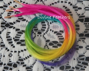 Hippie hair Rainbow Stick tips Ombre extensions Festivals & fairs Ombre hair extensions fun colored highlights pony tails