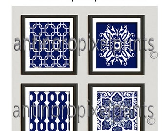 Ikat Damask Navy White Pictures, Set includes (4) Wall Art Prints, Custom Colors Sizes Available, #232286200
