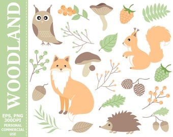 70% OFF SALE Digital Woodland Clip Art - Fox, Squirrel, Owl, Hedgehog, Leaves, Pastel, Berries Clip Art