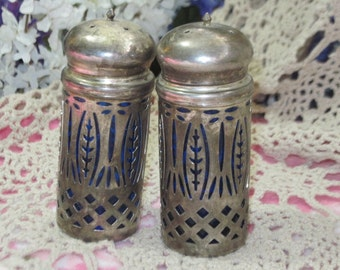 Cobalt Blue Glass and Silver Salt and Pepper Shakers,  Lattice  Design :) NOT INCLUDED In Discount Sale