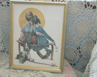 Norman Rockwell Print Boy Girl Dog with The  Moon, Vintage Norman Rockwell Print, Vintage Wall Hanging, Vintage Home Decor, Home decor,