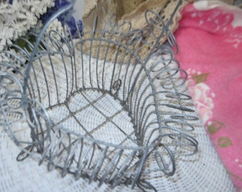 Heart Shaped Wire Basket with Handle / Egg Basket /  IO