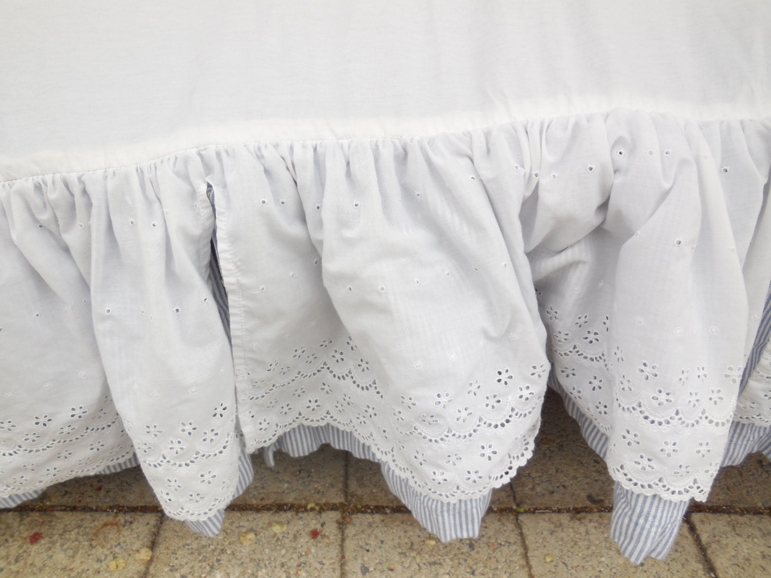 crib or small bed bed skirt eyelet embroidery blue and white