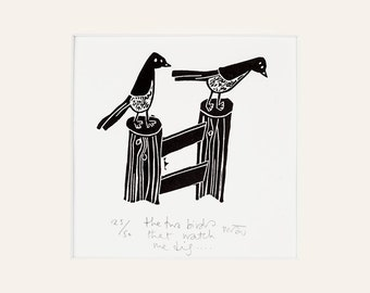 The two birds that watch me dig - lino cut