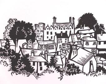 Little Hay on Wye - lino print