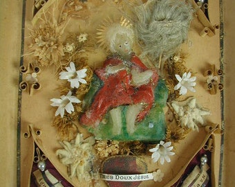 Antique Reliquary, Wax Christ Child, Real Flowers, Paper Quilling, Mercury Glass Beads