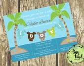 Beach Baby - Baby Shower Invitations (Baby Boy), DIY Printable, digital file (item 1130)