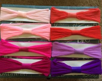 Set of TEN - Interchangeable Nylon Baby Headbands - You PICK the COLORS