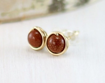 Goldstone Earrings, 14k Gold Filled Red Goldstone Stud Earrings Yellow Gold Wire Wrapped Gold Stone Post Earrings