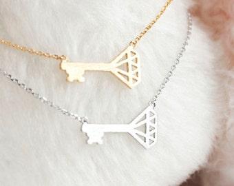 Sideways Diamond Key Charm Necklace, Gold / Silver, Whimsical Jewelry, ej