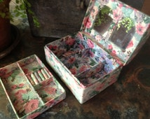 Vintage French Fabric Covered Jewelry Box with Pull Out Tray ~ Cabbage Roses Floral Fabric ~ Sewing Box