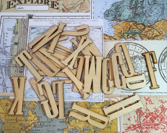 26 Wood Alpha Die-cuts / Wood Veneer Alphabet Letters for altered Art, MIxed Media, Journals, Smash Books, Collage, Crafts, etc.