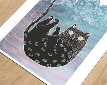 "black cat print -  ""Falling"" with gold eyes! 8x10 giclee on thick rag paper"