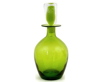 Blenko Green Glass Decanter with Crystal Sommerso Stopper #7326