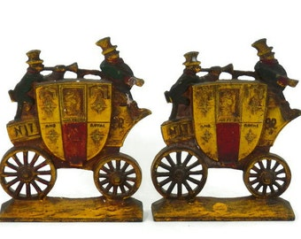 English Carriage Bookends Nu-y-dea Royal Mail Stagecoach