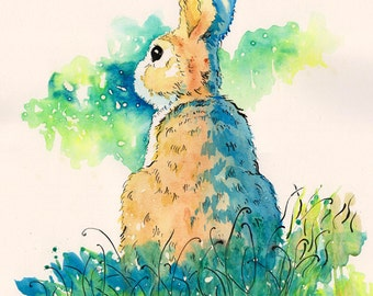 Rabbit in the Field - original watercolor painting, abstract art