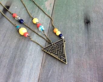 Summer Tribal Necklace/Long Necklaces/Southwestern/Boho