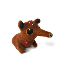 Sunda Colugo (Flying Lemur) Sculpture, Needle Felted Fibre Miniature