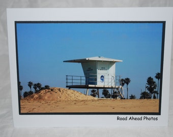 photo card, lifeguard tower 9, Huntington Beach