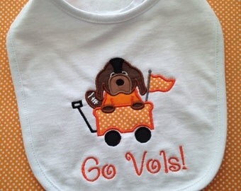 College mascot bib or burp cloth tennessee, florida, alabama, georgia