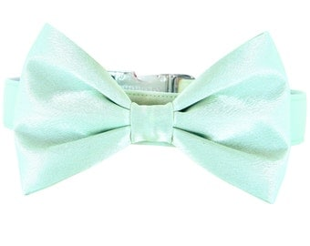 Mint Wedding Dog Bow Tie Collar/ Satin Dog Collar Bow Tie Set: Mint Satin