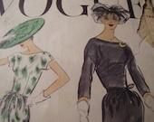 Vintage 1950's Vogue 9030 Dress Sewing Pattern, Size 14, Bust 34