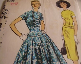 Vintage 1950's Simplicity 4993 Dress Sewing Pattern, Size 20, Bust 38