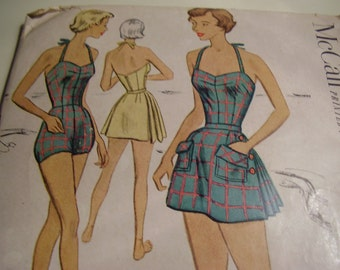 SALE  Vintage 1950's McCall 8434 Bathing Suit and Skirt Sewing Pattern, Size 14, Bust 32