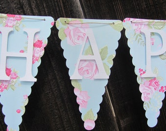 Happy Birthday Banner, Birthday Banner, Birthday Decorations, Light Blue, Pink, White shabby chic banner