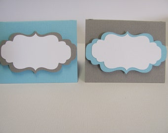 Light blue, Gray, Set of 12 Food Labels, Buffet Food Labels, Bridal Shower decorations, Baby Shower Decorations, Birthday Party Decorations
