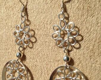 Sterling silver earrings, 925, dangle, flower